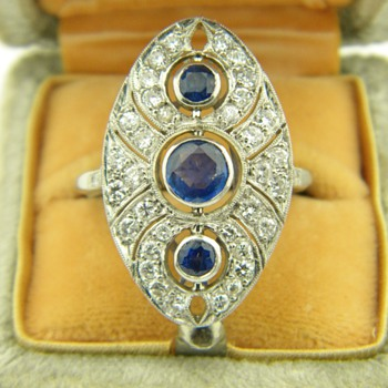 Antique Nouveau Diamond Ceylon Sapphire Platinum Dinner Ring 27mm x 15mm - Fine Jewelry