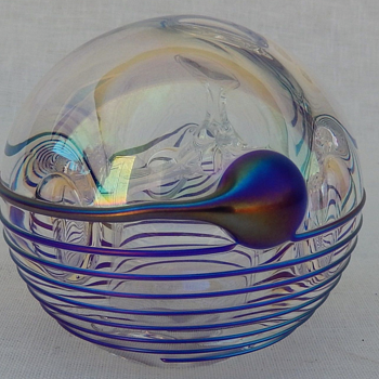 Unusual Signed Unkown Iridescent Threaded Paperweight