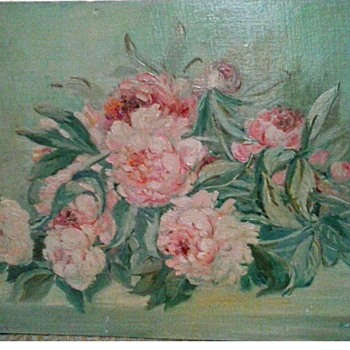 """Peonies"" Oil On Canvas Board / Unframed 18""x 24"" /Signed and Dated/ Circa 1948 (?) - Visual Art"