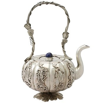 Antique Iraqi Silver Miniature Teapot - Sterling Silver