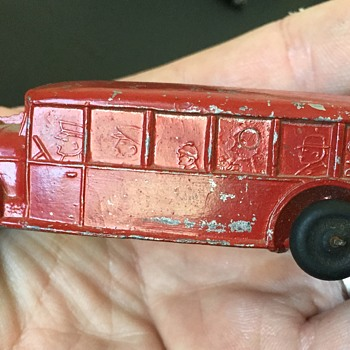 "Antique Cast Touring Bus "" Baggage"" Toy Car"
