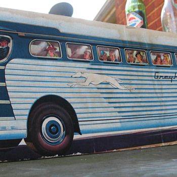 GREYHOUND BUS CARDBOARD STANDUP, 1940-50'S - Advertising