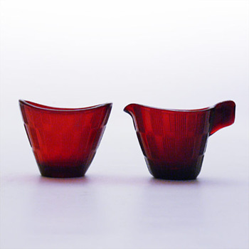 RANDY creamer an sugar-bowl set, Lennart Andersson (Gullaskruf, 1960s) - Art Glass