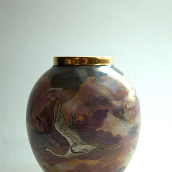 nice french enameled porcelain vase by GEORGES DUMAS, limoges circa 1940.