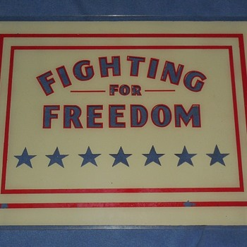 """Pennvernon """" Fighting For Freedom """" reverse painted glass panels - Military and Wartime"""