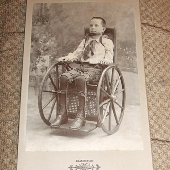Handicapped child in Wheel Chair cabinet card