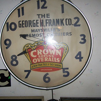 Crown Shrunk Overalls Advertising Clock Maysville Ky - Advertising