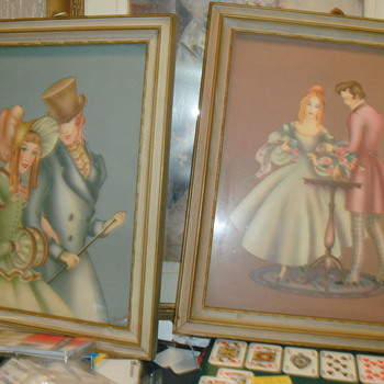 2 pictures framed  signed brewster   - Arts and Crafts