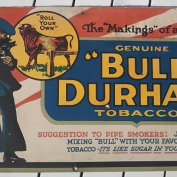 1917 Bull Durham Cardboard Advertisement Sign - Advertising