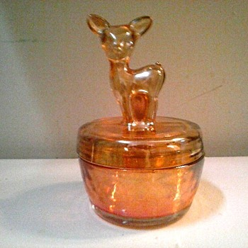 "Jeannette Glass Co. ""Marigold"" Iridized Glass/ ""Fawn"" Powder or Trinket Jar/ Circa 1930's- 1940 - Glassware"