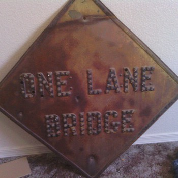 one lane bridge marble sign RARE