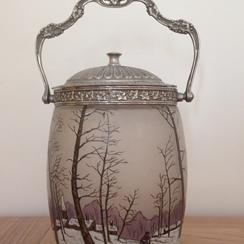 beautiful biscuit jar by Legras' factory - Art Nouveau