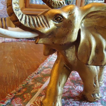 Elephant ceramic? with tusk made of? bone or wood - Art Pottery