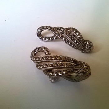 Thrift Shop Find Vintage .935 Silver & Marcasite Clip Earrings $2.00 - Fine Jewelry