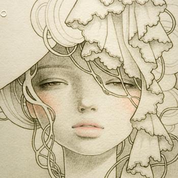 "Audrey Kawasaki ""Okimiyage"" Intaglio Modern Art Nouveau Print - Posters and Prints"