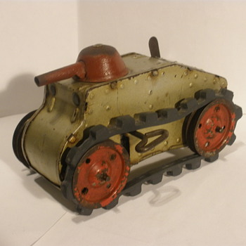 Tri-Ang Wind Up Tin Tank. 1920s, Pre Dates Marx version I believe.  - Model Cars
