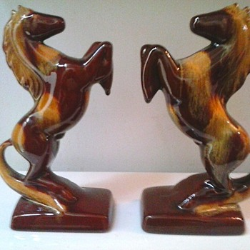 "Blue Mountain Pottery ""Harvest Gold "" 9"" Rearing Horse Bookends /Circa 1968-82"