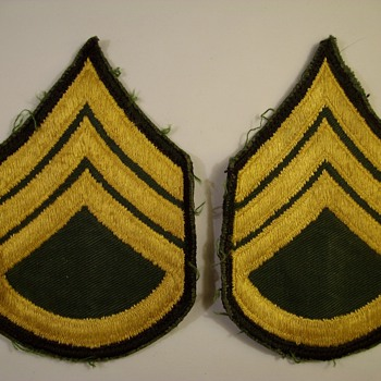 My Dads World War Two Sargent Patches - Military and Wartime