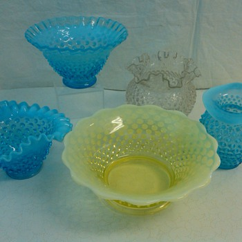 SELECTION OF FENTON HOBNAIL BOWLS FROM MY COLLECTION