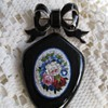 Georgian (Biedermeier) enameled Flower Micro Mosaic bow brooch and locket