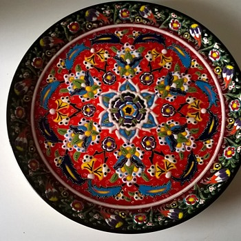 Turkish Hand Painted Gedikoglu Cini (ceramic) Kutahya Plate Flea Market Find 2 Bucks
