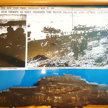 WW-2 framed photo shrapnel Aleutian Is. Repost but now framed with information - Military and Wartime