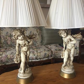 Antique Cherib lamps
