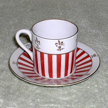 Red & White Stripe Porcelain Demitasse Cup & Saucer