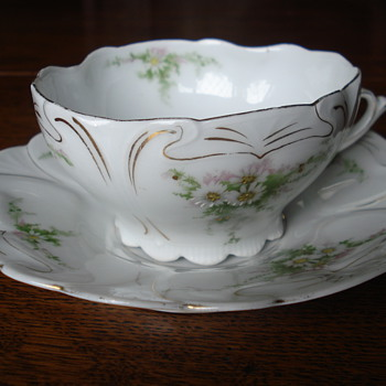 Art Nouveau pocelain demitasse and plate unmarked, but is Beyer and Bock - China and Dinnerware
