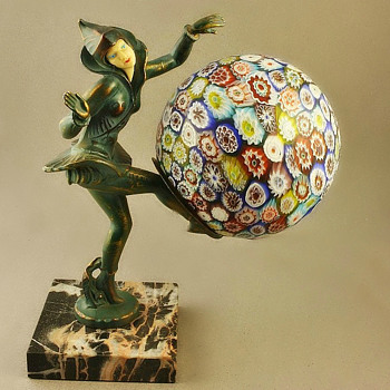 "Lamp ""Danseuses Des Indies"" By Ignacio Gallo, C1927, Millefiori Shade. 4th example. - Lamps"