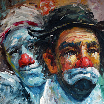 I need help with signature......Oil Painting of Clowns - Visual Art