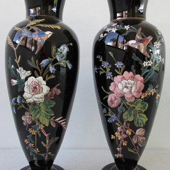 HARRACH BLACK GLASS VASES c1880 - Art Glass