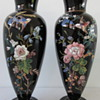 HARRACH BLACK GLASS VASES c1880