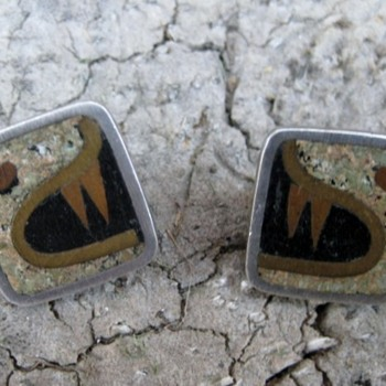 Mayan jaguar? taxco sterling, copper & brass earrings - Fine Jewelry