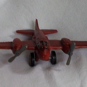Cast Iron Beaver double prop fighter plane WWll???  I think?? lol - Toys