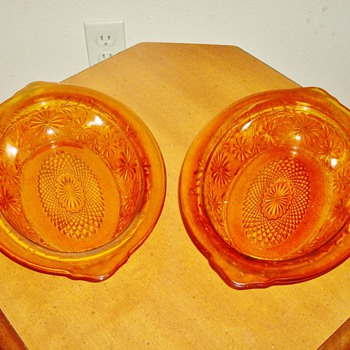 "Amber ""Pressed"" Glass Bowls - Glassware"