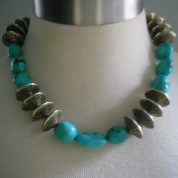 Silver and Turquoise Bead Necklace - Fine Jewelry
