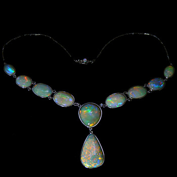 The Southern Lights Necklace - 64 carats of South Australian Crystal Opal, set in Platinum and Diamonds - Fine Jewelry