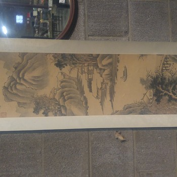antique Chinese ink and watercolor scroll painting - Asian