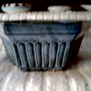 RRP Co. Roseville OH USA / Six Sided Slate Blue Floral Dish - Art Pottery