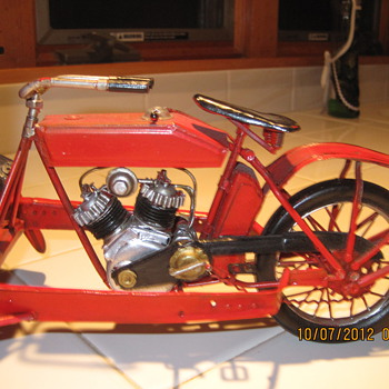Tin Toy Motorcycle Delivery Wagon