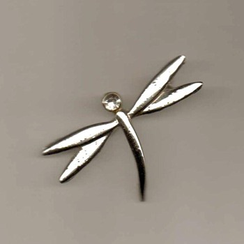 Dragonfly Pin with Stone - Costume Jewelry