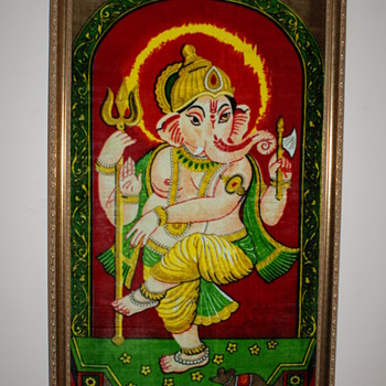 Indian Painted Velvet Image of Ganesh - Visual Art