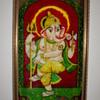 Indian Painted Velvet Image of Ganesh