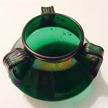 Green art glass three handled vase
