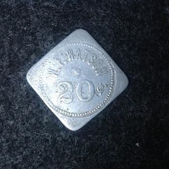 W.F. WATSON 20 cent company steelworker token