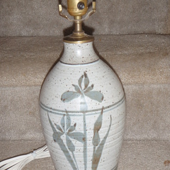 Marked Floral Motif Pottery Table Lamp
