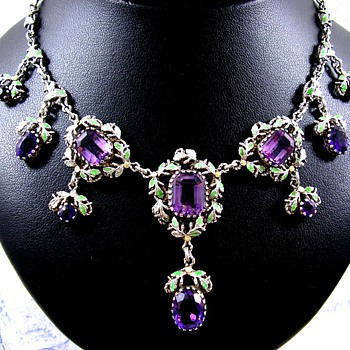 Kate Eadie Arts and Crafts Suffragette Necklace Amethyst Silver and Enamel  - Fine Jewelry