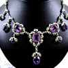 Kate Eadie Arts and Crafts Suffragette Necklace Amethyst Silver and Enamel 