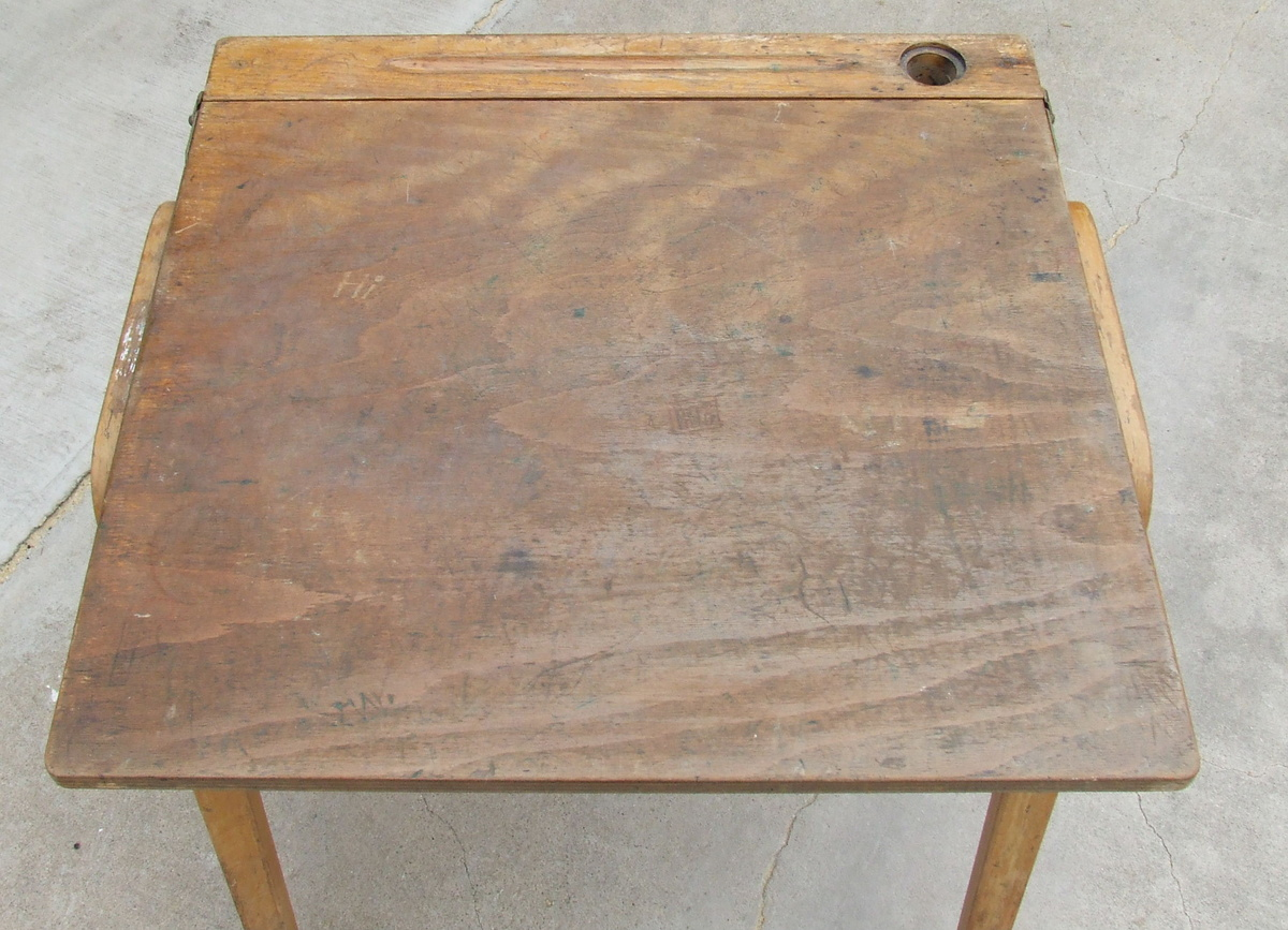 Great Old Wooden School Desk-Complete With Graffiti & Chewing Gum ...